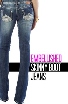 Embellished skinny boot jeans. #denim #embellishment #skinnyboot #straightbootleg #jeans #junior