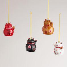 Lucky Cat Ornaments, Set of 4 | World Market