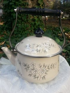 Vintage Tea Pot/Kettle Floral Pattern by TheEclecticOddyssey, $12.00