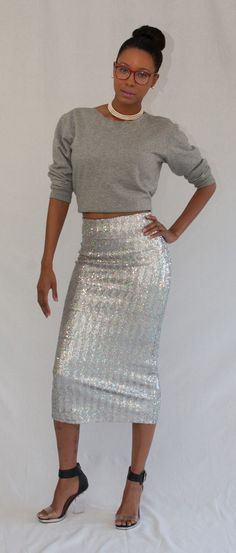 Easy Sequin Midi Skirt for NYE #DIY #sewing #nastygal shoes @ Lip Gloss and Thread Blog