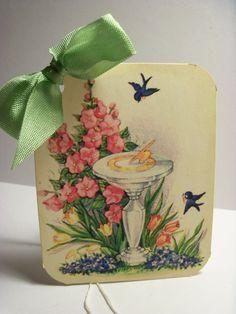 Garden Sundial and Bluebird Gift Tags..... Set of 6ECS. $5.25, via Etsy.