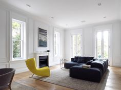 White Contemporary Sydney Interior Design With Yellow Chair And Black Sofa, home interior designer, home interior designers ~ Home Design Contemporary Interior Design, Best Interior Design, Home Interior, Interior Architecture, Contemporary Furniture, Australian Architecture, Victorian Architecture, My Living Room, Home And Living