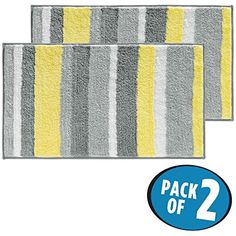 "mDesign Soft Microfiber Polyester Non-Slip Rectangular Spa Mat Rugs, Plush Water Absorbent, Striped Design - for Bathroom Vanity, Bathtub/Shower, Machine Washable - 34"" x 21"" - Pack of 2, Gray/Yellow   #ToolsAccessories"