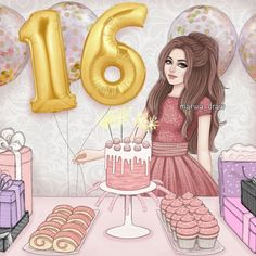 Birthday Girl Pictures, Birthday Girl Quotes, Art Birthday, Birthday Images, Cute Girl Drawing, Cartoon Girl Drawing, Girl Cartoon, Beautiful Drawings, Cute Drawings