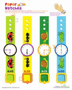 First Grade Time Paper Projects Worksheets: Practice Telling Time with Play Watches: 6 O'Clock