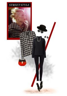 """""""Street Style in Houndstooth"""" by sherry7411 ❤ liked on Polyvore"""