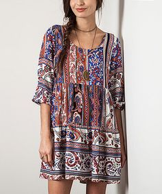 Loving this Blue Paisley Tie-Back Peasant Tunic on #zulily! #zulilyfinds