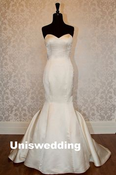 Simple ivory satin mermaid wedding dress by Uniswedding on Etsy, $229.00