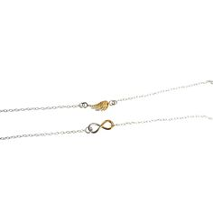 Fi Mehra - Silver infinity charm bracelet with yellow gold highlight and a silver angel wing charm bracelet with yellow gold highlight Arrow Necklace, Gold Necklace, Trade Fair, Infinity Charm, Gold Highlights, British, Angel, Jewellery, Yellow