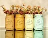 Valentine's Day Painted and Distressed Mason Jars - Vase - Candy and Utensil Holder. $18.00, via Etsy.