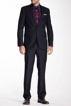 Mattarazi Uomo Luca One Button Peak Lapel Solid Navy Wool Blend Suit on HauteLook