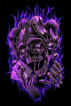 Charles A. the Jester Skull Jester Tattoo, Evil Skull Tattoo, Clown Tattoo, Skull Tattoo Design, Skull Tattoos, Body Art Tattoos, Grim Reaper Art, Badass Skulls, Totenkopf Tattoos