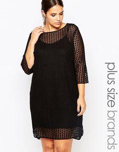 Super fede Carmakoma Sheer Overlay Shift Dress - Black Carmakoma Curve & Plus Size til Damer til hverdag og fest