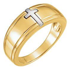 Two-Tone Christian Cross Ring for Men Cross Jewelry, Gold Jewelry, Christian Jewelry, Gold Cross, Cross Pendant, Beautiful Rings, Ring Designs, Rings For Men, White Gold