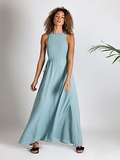 4009e185a97 Boho bridesmaid dress by Rewritten. Racer back round neck gown in marine  blue green.