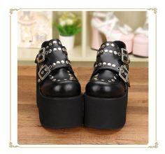 Punk Style Rivets High Platform Lolita Shoes