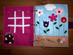 Crafty Chic: A Girls Quiet Book  Lots of ideas for a book here: Tic Tac Toe, button flowers, hair braiding, simple puzzles, shape matching, shoe tying