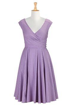 Gingham Check Cotton Dresses, Surplice Dresses Plus Size Shop womens designer dresses - Tops and Dresses for Women | eShakti.com