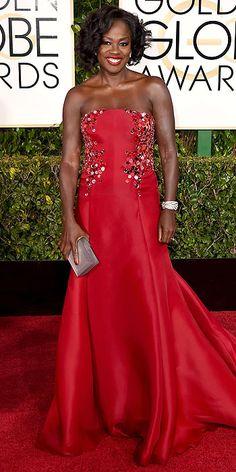Golden Globe Awards 2015: Arrivals : People.com - Viola Davis, in Donna Karan Atelier