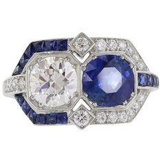 Art Deco Sapphire Diamond Platinum Ring | From a unique collection of vintage more rings at https://www.1stdibs.com/jewelry/rings/more-rings/