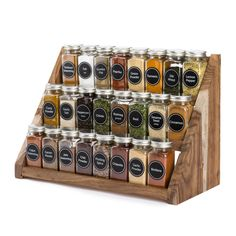 Organizing kitchen spice collection with SpiceLuxe Stadium Spice Rack - SpiceLuxe Organize Kitchen Spices, Kitchen Organization Pantry, Spice Organization, Diy Kitchen Storage, Kitchen Decor, Design Kitchen, Bathroom Organization, Wood Spice Rack, Kitchen Spice Racks