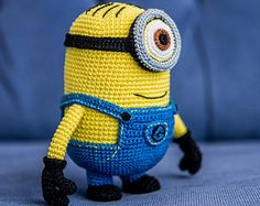 Crochet Pattern of yellow monster with two eyes (Amigurumi tutorial PDF file)