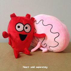 """Your neuron-firing, practical logical intelligent wrinkled mass is now in a super-lovable plushie form! Approximately 7"""" from front to back, Brain compliments Heart's size very similarly to the comics"""