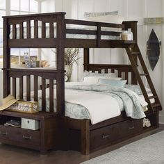 Make a space that offers a casual style and relaxing comfort with the Highlands Harper Twin over Full Bunk Bed . This beautiful bunk bed set features. Bunk Bed Sets, Bunk Beds With Storage, Bunk Bed With Trundle, Full Bunk Beds, Kids Bunk Beds, Under Bed Storage, Full Bed, Loft Beds, Toy Storage