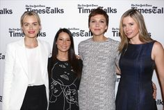 LR Actresses Taylor Schilling Lucy Liu Maggie Gyllenhaal and Mira Sorvino attend 'TimesTalks' at Times Center on July 24 2014 in New York City