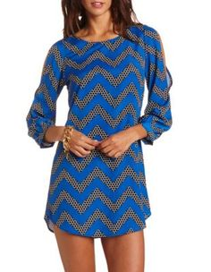 cold shoulder chevron shift dress-Charlotterusse