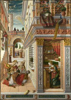 Fernand #Khnopff on #Quattrocento Carlo #Crivelli (Venice 1430?–Ascoli Piceno 1495), Annunciation with St. Emidius, 1486, National Gallery, London. Fernand Khnopff (1858-1921), I lock my door upon myself, 1891, oil on canvas, 72.7x141cm, Neue Pinakothek Munich.