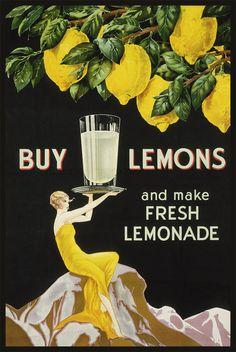 Buy Lemons And Make Fresh Lemonade Retro Art Deco Poster Vintage Advertisements, Vintage Ads, Vintage Posters, Floral Posters, Vintage Crates, Vintage Food, Vintage Paper, Vintage Kitchen, Art Deco Posters