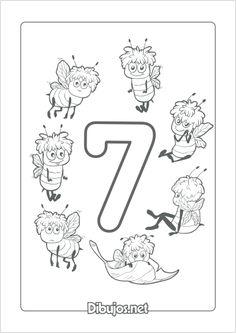 Imprimir dibujo del número 7 para colorear