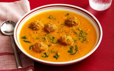 Carrot soup with turkey meatballs... maybe exchange the carrot with potato, or even sweet potato, butternut squash, pumpkin...