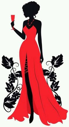 Único y Creativo Wearing A Beautiful Red Dress, Silhouette Figures, Wineglass, Beauty PNG and Vec. Wearing A Beautiful Red Dress, Silhouett. Silhouette Art, Woman Silhouette, Dress Silhouette, Beautiful Red Dresses, Black Women Art, Fashion Art, Fashion Design, Emo Fashion, Fashion Women