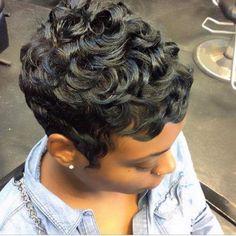 These short black hairstyles are stylish. Short Sassy Hair, Short Curls, Short Hair Cuts, Short Relaxed Hair, Pixie Cuts, Pixie Hairstyles, Pixie Haircut, Trendy Hairstyles, Short Black Hairstyles