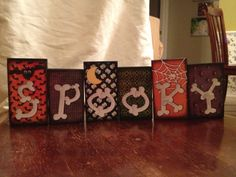 """Cute """"Spooky"""" block set. Sizes are 4 & 1/2 inches and 4 inches tall. Made of wood and paper. Guaranteed not to fade in the sunlight. Purchase for $12.50, shipping not included.  www.lesliegipon.com"""