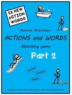 Autism Activities: Actions and Words Matching Game PART 2 Action Words, Autism Activities, Autism Spectrum Disorder, Children With Autism, Matching Games, Therapy Ideas, Speech And Language, Speech Therapy, Education