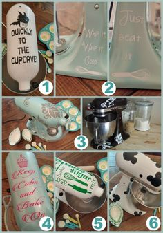 Super Cute Stand Mixer Decals  1. Quickly to the Cupcave 2. Whip It/Just Beat It 3. Damask Print 4. Keep Calm & Bake ON 5. Kitchen Utensils & Words 6. Inspired Micky Heads