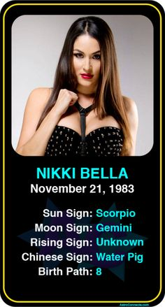 #Famous #WWE #Wrestlers: Nikki Bella - Check out more famous WWE wrestlers here! https://www.astroconnects.com/galleries/celeb-featured-galleries/famous-wwe-wrestlers #astrology #wrestling #nikkibella