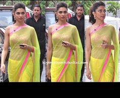 It was Arpita Mehta for Deepika again while promoting her movie. The chartreuse and pink sari may be filmy but dang, Deepika looked great!