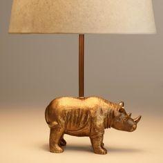 Brass Rhino Accent Lamp Base