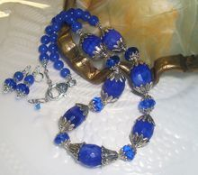 Sapphire Blue Agate (Dyed) Gemstone Necklace And Earrings Set