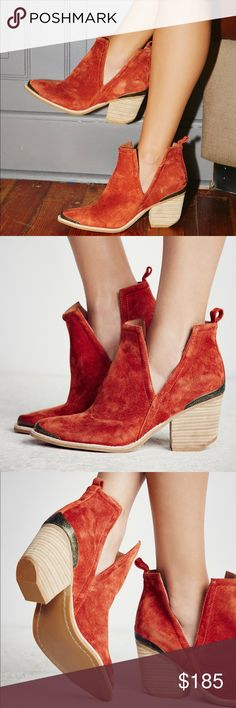 Jeffrey Campbell x Free Ppl Hunt The Plains Boot Free People x Jeffrey Campbell : Suede ankle boots with a western-inspired design, etched metal heel and toe caps, and sculptural V-cut sides. Easily bend and mold upper to hold a coveted slouchy shape. Size 7 Color: Rust Suede Jeffrey Campbell Shoes Ankle Boots & Booties