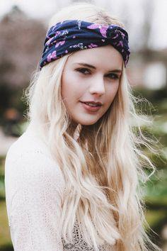 Butterfly Turban Headband, Navy and Purple Butterflies Headband, Girly Hair Accessory by beauxoxo on Etsy