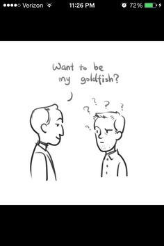 Mycroft Holmes / Gregory Lestrade / Mystrade / Want to be my goldfish ? / BBC Sherlock / fan art / fanart