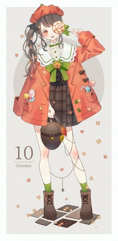 October, full with sweet Anime Girl Cute, Beautiful Anime Girl, Kawaii Anime Girl, Cute Anime Couples, Anime Art Girl, Anime Girls, Art Kawaii, Chibi Kawaii, Loli Kawaii