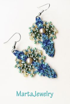 Macrame earrings with SuperDuos by MartaJewelry