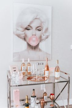 Chic Rosé Bart Cart Marilyn Monroe Bubble Gum Bar Cart Styling Cabana Service Home Decor Rosé & White Cart Cart Blondie in the City by Hayley Larue Home Bar Decor, Bar Cart Decor, Retro Home Decor, Cheap Home Decor, Ikea Bar Cart, Diy Bar Cart, 1950s Decor, Pink Home Decor, Sconces Living Room