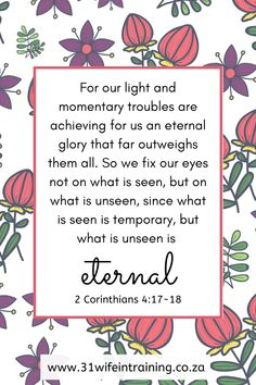 I choose to fix my eyes not on what is seen, but on what is unseen, because what is unseen is eternal. Christian Devotions, Christian Quotes, Scripture Quotes, Faith Quotes, Writing Plan, Sermon Notes, Bible Study Tips, Inspirational Articles, Bible Teachings